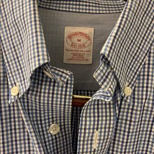 Men's no iron check pattern blue Brooks Brothers